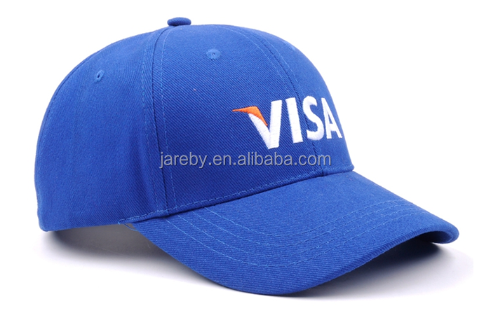 100% Cotton Blue 6 Panel Baseball Cap Hat Headwear