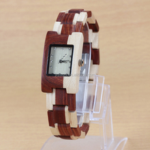 OEM ODM Fashion Ladies Square Natural Hand Made Wood Watch with Private Label