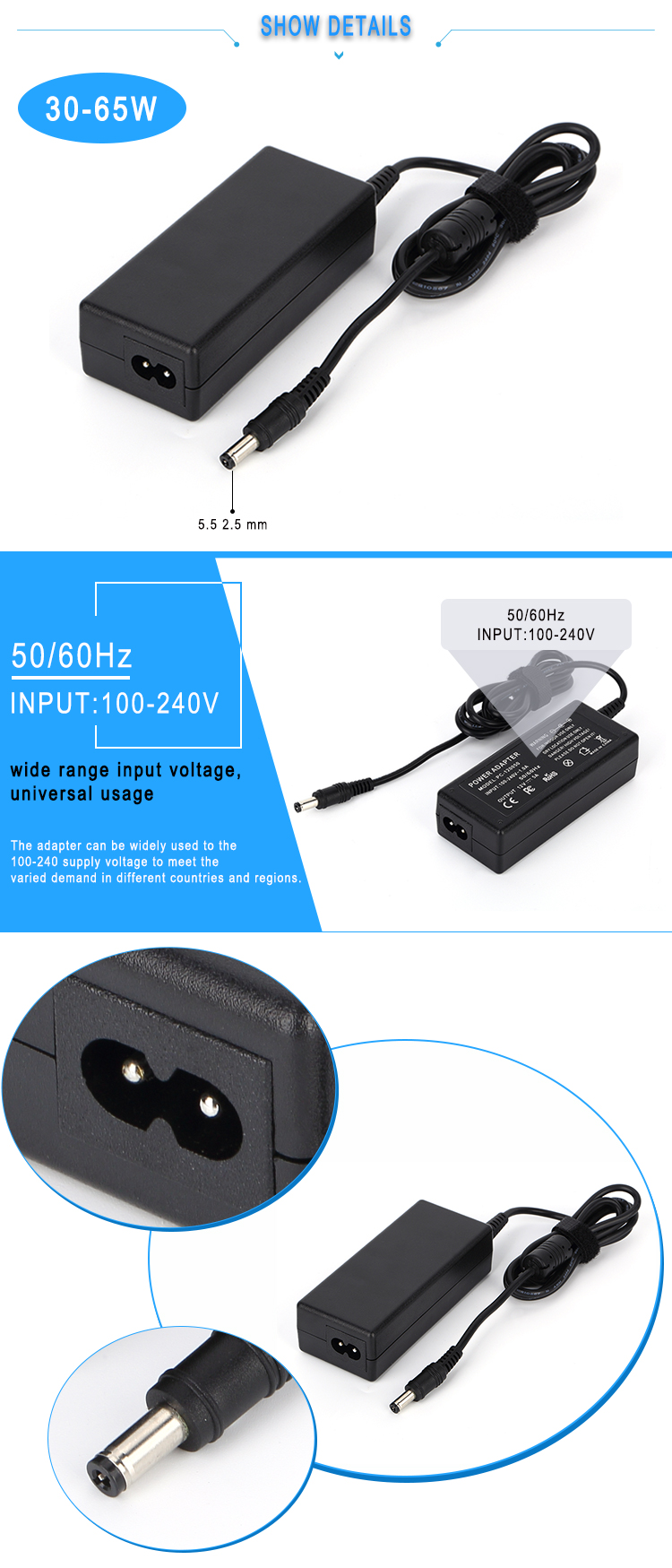 19v 3.42a laptop ac adapter 65w power adapter 2018 electronic supply