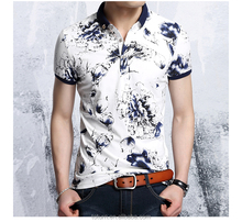 Slim man short-sleeved Geometric print t-shirt tide male 100% cotton family smoothest polo t-shirt