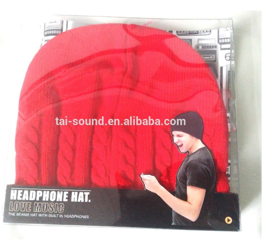 Wholesale top class stereo knitting bluetooth wireless beanie Black/Red hat with headphone