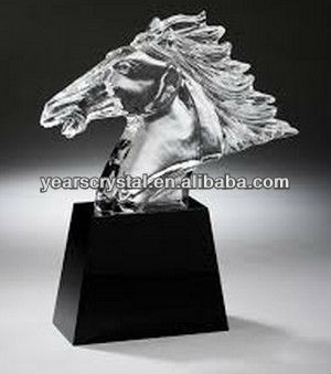"china supply 11"" high crystal horse head with black base for horse race awards(R-2130"