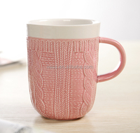 High Quality textured Ceramic Mug Pink for sale