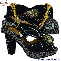CSB1246 BLACK Evening Shoes and bag High Quality Fashionable Wholesale price lady shoes and bag