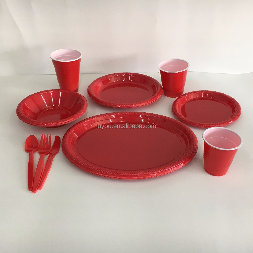 party supply tableware disposable plastic solid color plates sets
