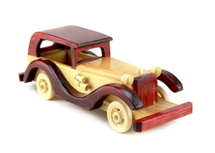 Handmade Replica Vintage Car with Moving Wheels wood toy kits car model