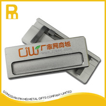 sliver color aluminum plate name badge with safety pin