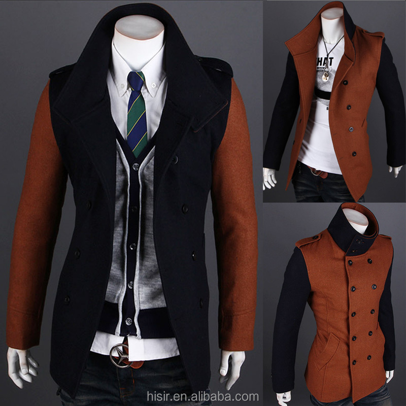 2014 new Korean men's hit color mosaic fashion boutique double breasted coat 1601-7549
