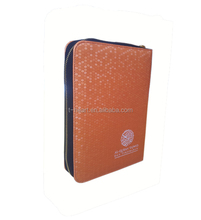 Bright color religious quran leather book cover with zipper