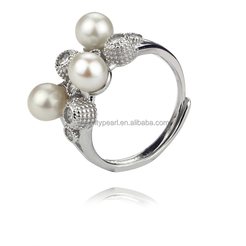 AA 5.5-6mm perfect round pearl ring 925 sterling silver cultured pearl jewelry ring