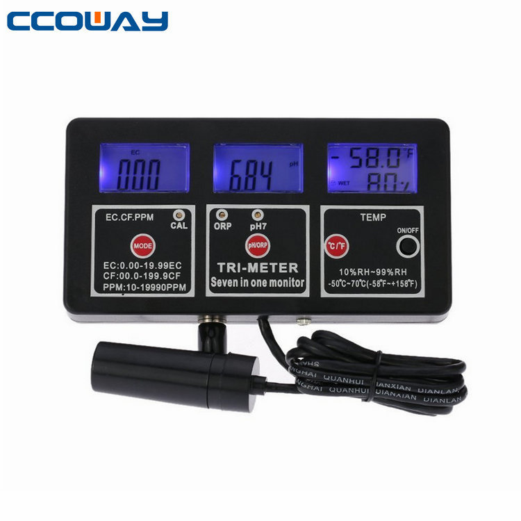 digital 7 in 1 Multi-parameter Water Testing Meter LCD Multi-function Monitor