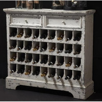 White wine cabinet made in reclaimed wood furniture