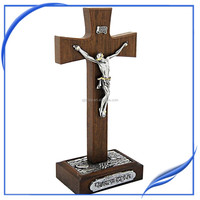Large decorative standing crucifix alloy wooden cross