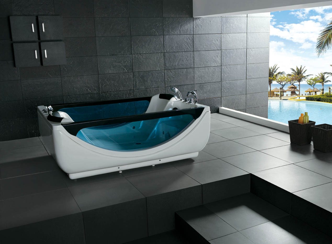 Hot sale indoor 2 people freestanding acrylic whirlpool for Indoor bathroom hot tubs