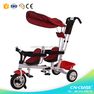 new model children tricycle two seat, double seat children tricycle, 2 seats children tricycle