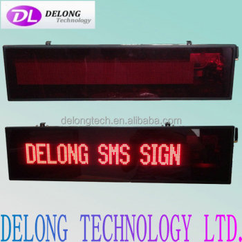 CE RoHS indoor 16X128pixel P4.75mm red lithium rechargeable scrolling text sms led display