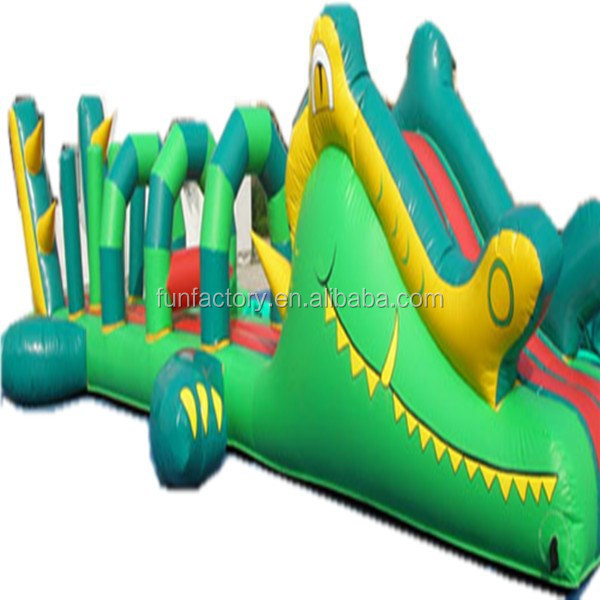 Happy smile crocodile inflatable challenge game for indoor playground