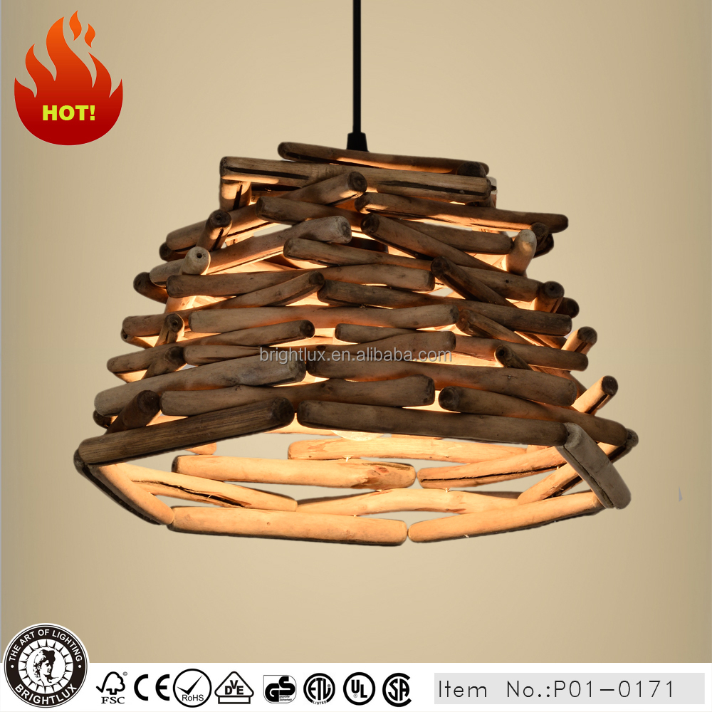 rural driftwood pendant light for restaurant P1-0171