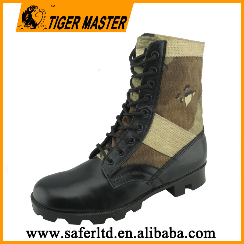 Corrected leather canvas fabric military boot men