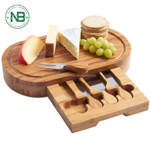 Cheese Board Bamboo Cheese Board Bamboo Cheese Board set Cutlery Set with Slide Out Drawer