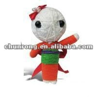 Japanese girl lovely handmade fabric red string voodoo doll,cute little doll toy