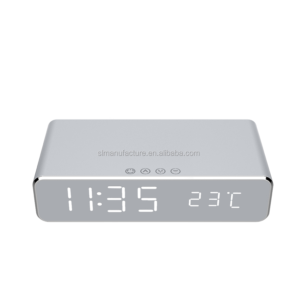 Multi-function Qi wireless charger with Electric LED alarm clock digital thermometer clock HD mirror clock and Time memory