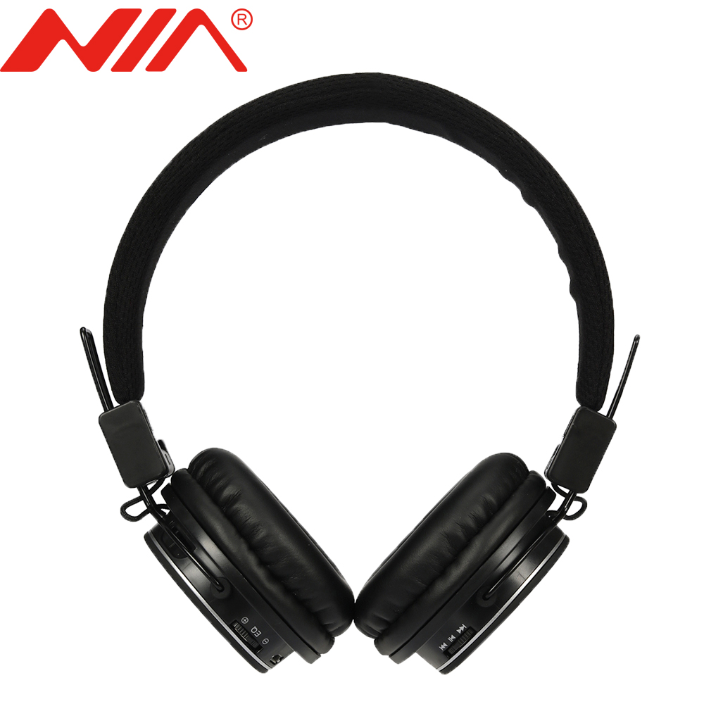 Original NIA 8820 EQ Foldable Wireless Stereo Headphones Sport with Mic Support TF Card FM Radio Headset