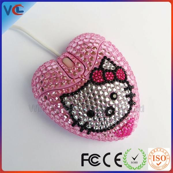 Computer accessory Wired USB Cute Beautiful Gift bling mouse heart shape