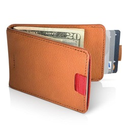 Bifold wallet brown leather money clip with card sot Super thin money clip wallet