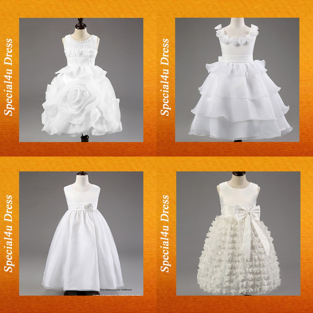 LYD-210 New style girl party wear western dress white plain kids beautiful model dresses elegant frock design for girl