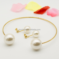 14k gold cultured pearl necklace set wholesale