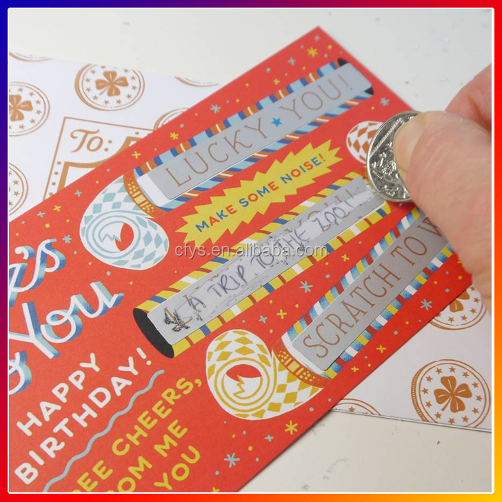 Cheap custom full printing pin number scratch card