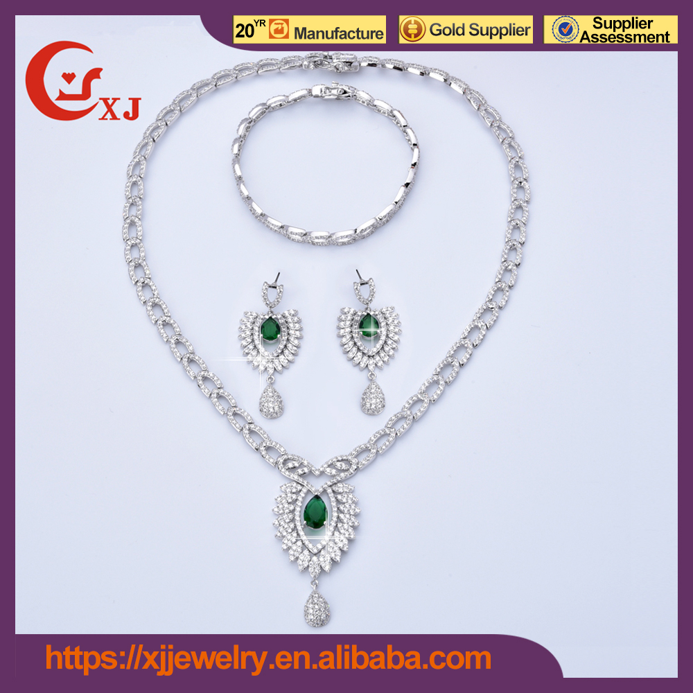 Hot Quality Cubic Zircon Heavy Indian Bridal Jewelry Sets