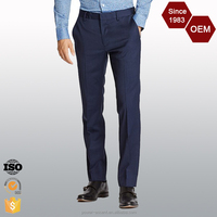 OEM Wholesale Solid Stretch Flat Front Pants Trousers for Men