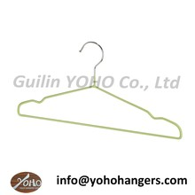 Galvanized Wire Metal Coat Clothes Hangers with Green Coating 16""