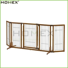 Wood Easy Up Solid Pet Gate Foldable Pet Fence w Door Homex_BSCI Factory