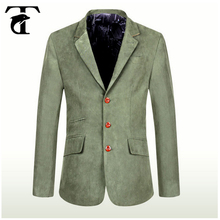 Men Slim Fit Double Flap Pockets Lining Casual Green Blazer Quality Solid Color Casual Green Sports Coats Blazers For Men