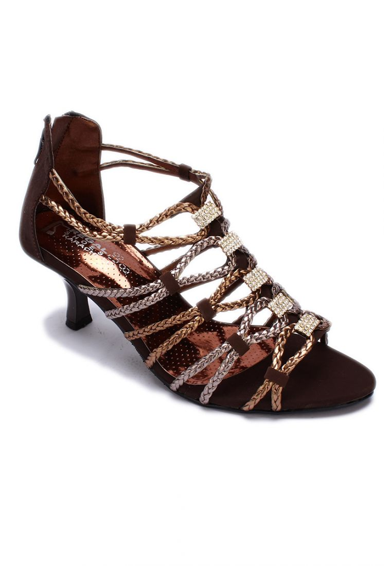 Brown Gladiator Shoes With Crystal Studded Strap and Zipper