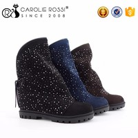 China Footwear Trading Companies Women Starry Boots with Zipper