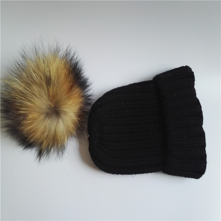 Black knit winter warm cap/women's knitted sports hat