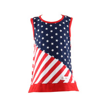 Summer High Quality girls party dresses Children Sleeveless with strip&five start 4th july patriotic baby clothes