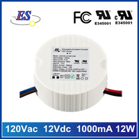 12w 1a 120V ac to 12V dc constant current triac dimmable led driver power supply with UL CUL FCC