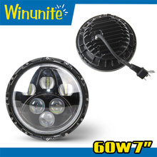 "New arrival real factory 7"" round led headlamp with hi/lo beam and halo7 inch 60w led off road headlight for jeep wrangler"