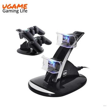 Black Stand Double Seat Charger Cradle Upright USB Cable For PS3 Controller