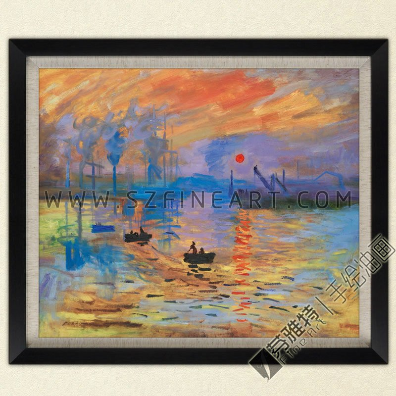 Impression, Sunrise, 100% Handmade Oil Painting Canvas Reproduction of Claude Monet