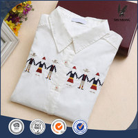 Women's long sleeve shirt lapel OL shirts blouses cotton female embroidered dresses