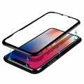 Hot Selling Amazon Luxury Magnetic Aluminum Metal Bumper Front+Back Full Cover Case Celulares For iPhone X