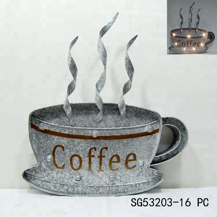 Metal Coffee Cup Wall Art With Light Effects - Buy Coffee Cup Wall ...