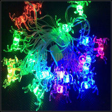 Christmas deer RGB Led Solar String Lights 4.8m 20 led for Holiday Party Home Decoration Lamp