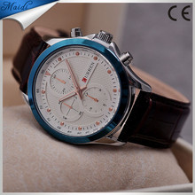 2015 new fashion Curren mens aaa quality genuine leather wrist quartz watch with simple white face BW-8